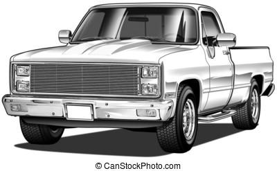 82 Pickup Mild Custom - Airbrush and Line Illustration