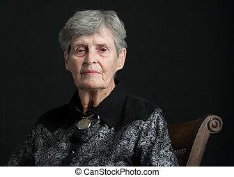 83, kvinna, gammal, portait, år
