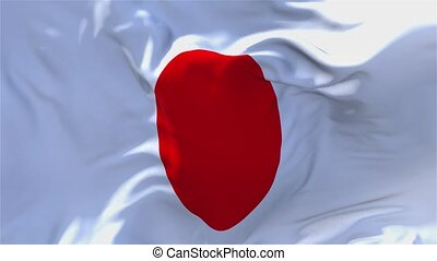 84. Japan Flag Waving in Wind Continuous Seamless Loop Background.