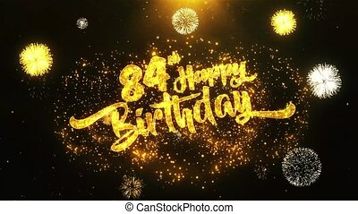 84th Happy Birthday Text Greeting, Wishes, Celebration, invitation Background