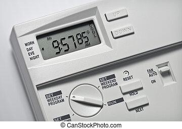85, degrés, thermostat, frais