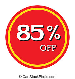 85% OFF Discount Price Tag Isolated Vector