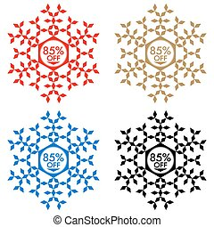 85% Off Discount Sticker. Snowflake 85% Off Sale