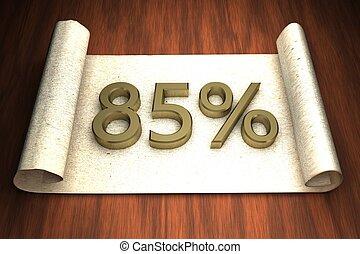85 per cent, golden numbers, over open paper, 3d rendering
