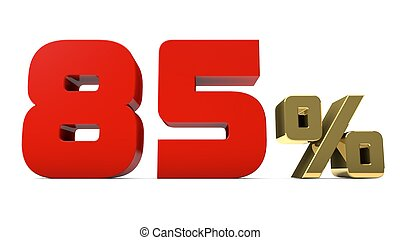 85% percent red and gold text isolated on white 3d render