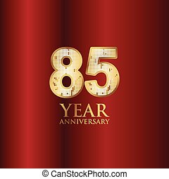 85 Year Anniversary Gold With Red Background Vector Template Design Illustration