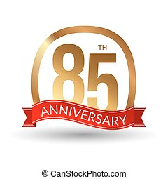 85 years anniversary experience gold label with red ribbon, vector illustration