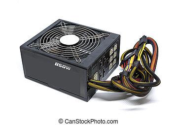 850w, atx, versorgung, weißes, kühl, haben, kabel, ...