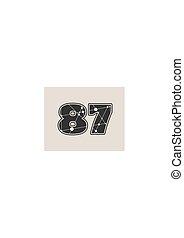 87 number vector illustration.