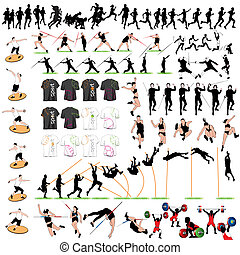 88 Sport Silhouettes and T-shirts Set