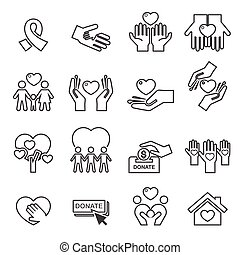 895 Charity Silhouette line icons