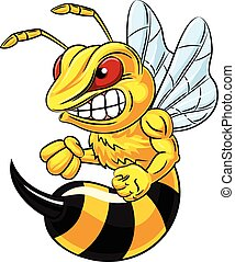 896 - Vector illustration of angry bee mascot isolated on ...