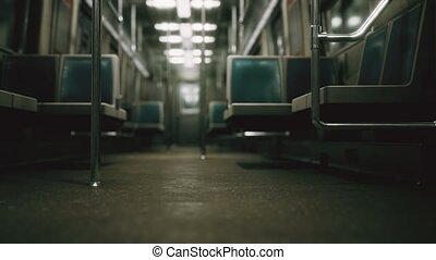 8K Inside of the old non-modernized subway car in USA