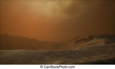 8K Sandstorm in desert at sunset