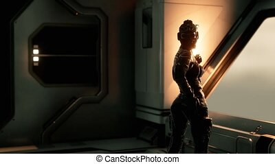 8K Sexy Futurictic Astronaut in the Space Station. Realistic sci-fi animation