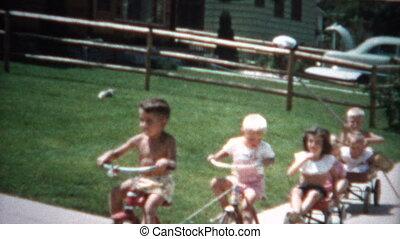 (8mm Film) Gang of Kids on Bikes