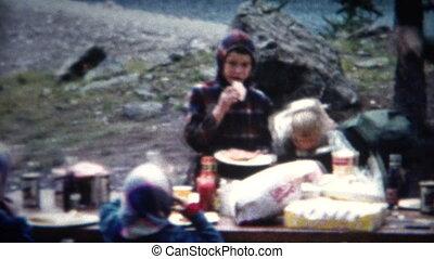 (8mm Film) Outdoor Mountain Picnic - A unique vintage 8mm...