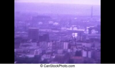 1975-07-01 Hamburg, Germany: 8mm footage aerial view of cityscape, shot from observation deck of Heinrich-Hertz-Turm TV tower