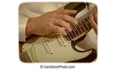 8mm, style, électrique, guitar., main, retro, blanc, jouer, film.
