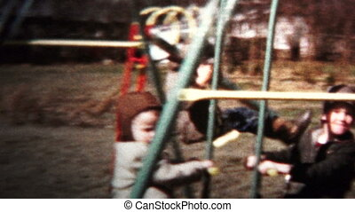 (8mm Vintage) 1957 Kids Playing On