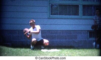 (8mm Vintage) Boy Catching Baseball