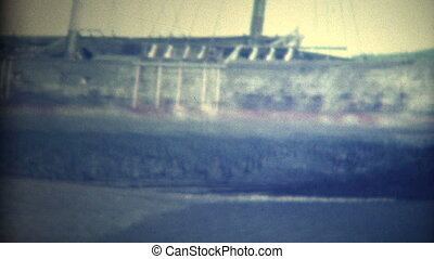 (8mm Vintage) Old Ships on Shore - Bunch of abandonded boats...