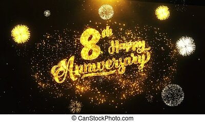 8th Happy Anniversary Text Greeting, Wishes, Celebration, invitation Background