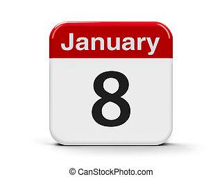 8th January - Calendar web button - The Eighth of January,...