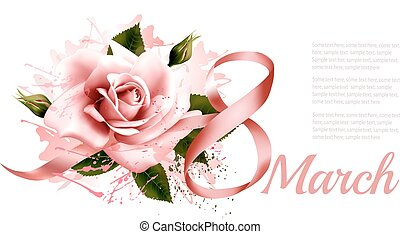8th March vintage illustration. Pink rose with ribbon. Vector.