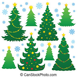 9, árvore, tema, silueta, natal