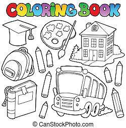 9, école, livre coloration, dessins animés