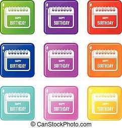 9, カレンダー, birthday, セット, 幸せ