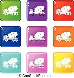 9, コンクリート, セット, トラック, ミキサー