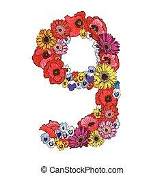 9, ディジット, 作られた, の, 別, flowers., 花, 要素, の, カラフルである, アルファベット, 作られた, から, flowers., ベクトル, イラスト