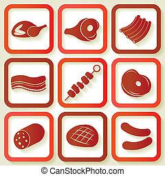 9, レトロ, セット, 肉, アイコン