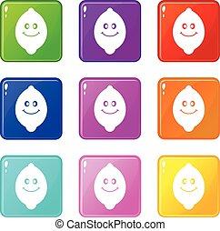 9, 微笑, フルーツ, レモン, セット