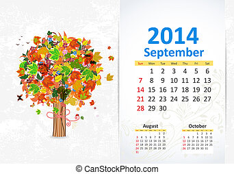9 月, カレンダー, 2014
