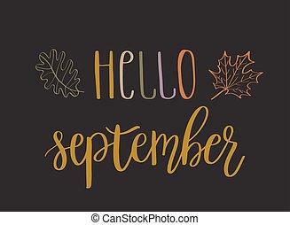9 月, レタリング, こんにちは, テキスト