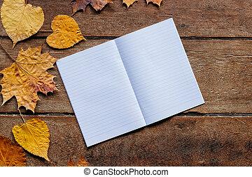 9 月, 木製である, 背景, 葉, 1., 壁紙, 秋, コピー, space., ノート
