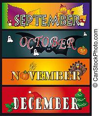 9 月, 10 月, 11 月, 12月