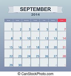 9 月, 2014-planning, カレンダー