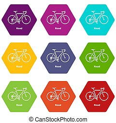 9, 自転車, セット, 道, アイコン