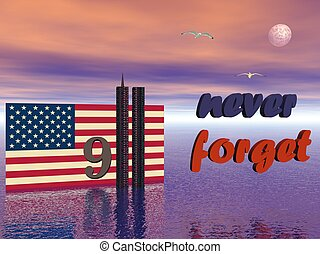 9-11 never forget - USA flag and World Trade Center twin...