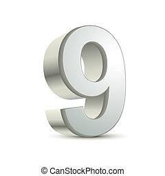 9, 3d, baluginante, numero, argento