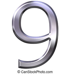 9, 3d, numero, argento