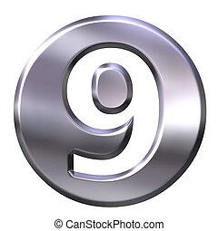 9, 3d, numero, argento, incorniciato