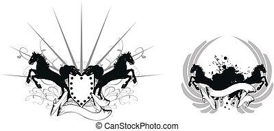 9, agasalho, cavalo, heraldic, braços