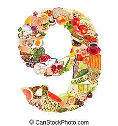 9, alimento, feito, número