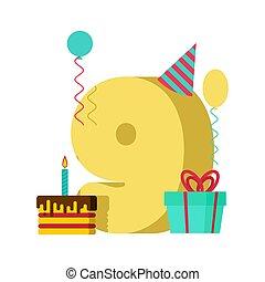 9, ano, cartão cumprimento, birthday., 9º, celebração aniversário, template