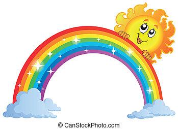 9, arcobaleno, immagine, tema